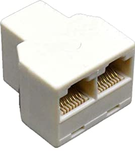 RJ45 Female 1 to 2 Telephone Y Splitter Connector Adapter