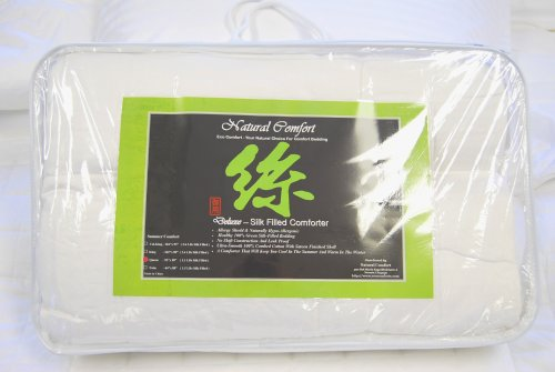 Deluxe 100-Percent Natural Green Tussah Silk Filled White Comforter For Summer, California King front-585665
