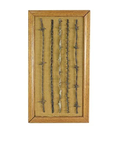 Uptown Down Vintage Framed Barbed Wire Sample Board, Natural/Silver