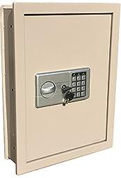 Digital Electronic Flat Recessed Wall Hidden Safe Security Box Jewelry Gun Cash (Off White/Light Grey)