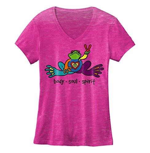 peace-frogs-heart-frog-ladies-v-neck-burnout-licensed-t-shirt-large