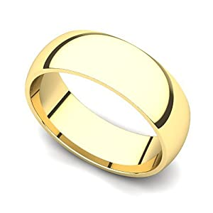 18k Yellow Gold 6mm Classic Plain Comfort Fit Wedding Band Ring, 10.5
