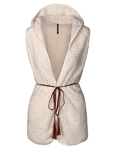 BIADANI Women Sleeveless Hooded Fur Belted Warm Soft Vest Ivory X-Large