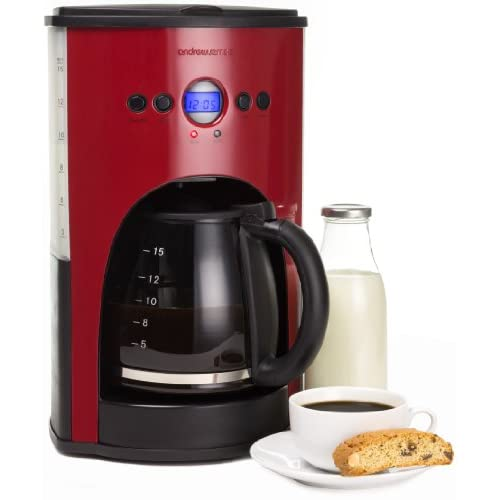 Andrew James 1100 Watt Digital Filter Coffee Maker In Red, Includes Reusable Mesh Filter, Non-Stick Warming Plate...