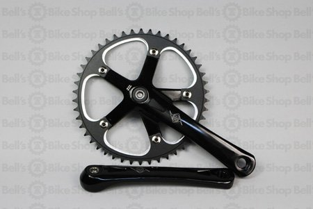 Origin8 Square Top Track Single Speed Bicycle Crankset - Black 170mm x 46T
