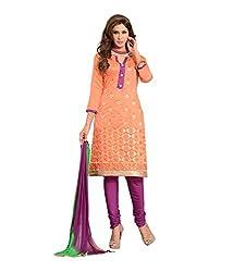 Fabdeal Womens Chanderi Unstitched Dress Material (HUK2DR4201NCR_Orange)