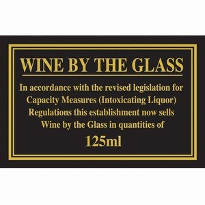 125ml Weights & Measures Act Sign | Pub Law Sign, Licencing Act Sign, 125ml Wine By The Glass Sign