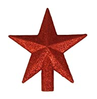 4″ Petite Treasures Red Glittered Mini Star Christmas Tree Topper – Unlit