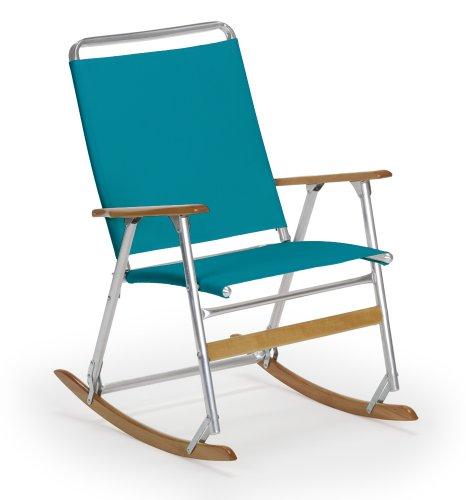 Telescope Casual High Back Folding Rocking Arm Beach Chair, Aqua
