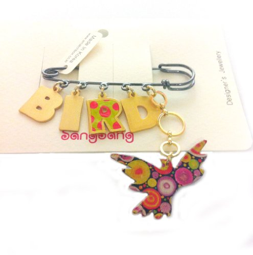 Designer Handmade Colorful Bird Brooch with Bird Initial Letters