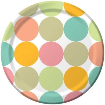 "Creative Converting Fun Dots Round 10"" Banquet Plates, 8 Count"