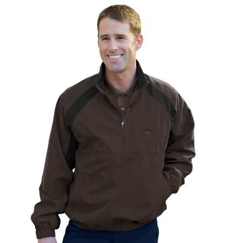 Monterey Club Men'S Long Sleeve Waterproof Contrast Pullover #1780(Coffee/Black,X-Large)