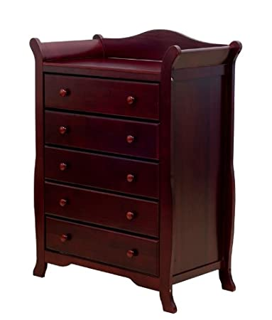 Dream On Me Alissa 5 Drawer Sleigh Chest, Cherry