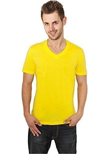 Urban Classics TB169 Basic V-Neck Tee T-shirt Collo V Manica Corta (Yellow, XS)