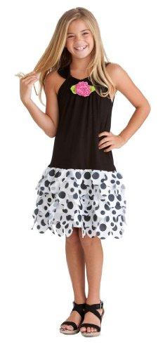 Peaches N Cream Girls 4-6X Black White Dot Die-Cut Skirt Dress, 5
