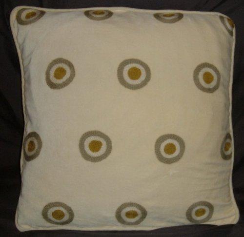 Crewel Pillow Polka Dot Green on Gold Cotton Velvet (20X20)