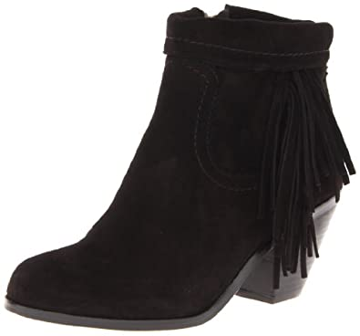 Sam Edelman Women's Louie Ankle Fringe Boot,Black Suede,5 M US