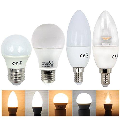 OUBO 3W E14 Sockel LED SMD Bulb Leuchtmittel Spot Kerzenlampe Leuchtlampe Glühbirne Kerze Glühlampe Birne Leuchte Lampe Licht Strahler Kaltweiß