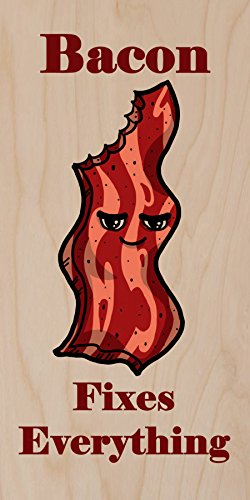 """""""Bacon Fixes Everything"""" Food Humor Cartoon - Plywood Wood Print Poster Wall Art front-707603"""