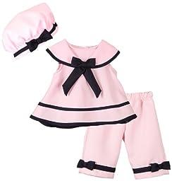 Rare Editions Baby Girls 3 Piece Top, Pants and Hat Nautical Sailor Dress Set - 6 Months
