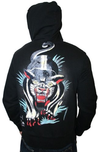 ED HARDY by Christian Audigier Tattoo Mens Graphic Print Zip Up Hoody Hoodie
