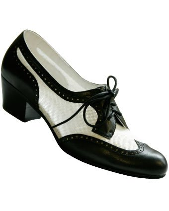 Aris Allen Women's 1950s Black & White Spectator Wingtip Mesh Oxford Swing Shoes with Suede Soles