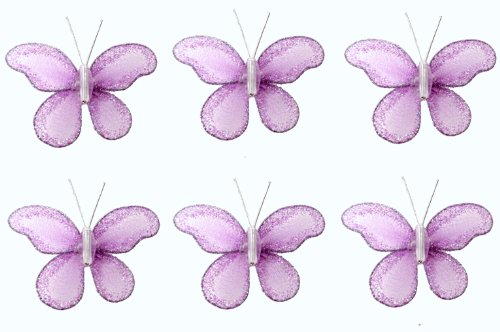 "Butterfly Decor 2"" Purple Mini (X-Small) Glitter Butterflies 6Pc Set. Decorate For A Baby Nursery Bedroom, Girls Room Ceiling Wall Decor, Wedding Birthday Party, Bridal Baby Shower, Bathroom. Decoration For Crafts, Scrapbooks, Invitations, Parties"