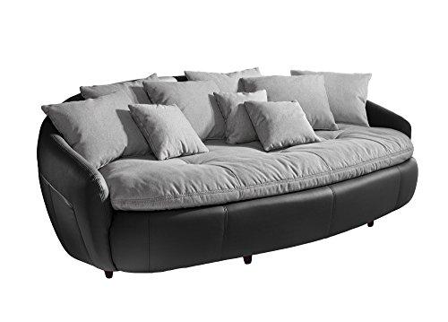 Cotta M010530 C311/H360 Modernes Megasofa, Sitzkissen und Rückenkissen 238 x 140 cm, Strukturstoff grau, Korpus in weichem Kunstleder schwarz thumbnail