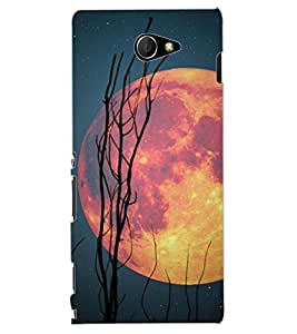 ColourCraft Moon Design Back Case Cover for SONY XPERIA M2