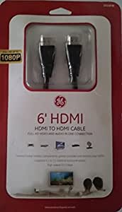GE 6' High Speed HD 3D 4k 1080p HDMI Cable, Black
