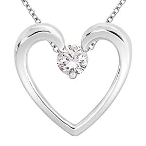 Sterling Silver Solitaire Diamond Heart Pendant Necklace (1/6 cttw, H-I Color, I1-I2 Clarity), 18