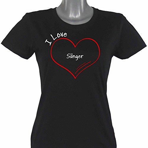 T-Shirt-Modern-I-Love-Snger-schwarz-Damen-Gr-S-bis-2XL