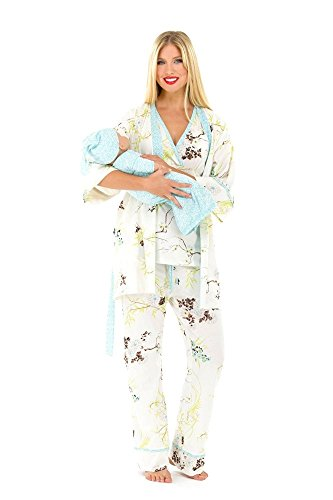Olian 5 Piece Nursing PJ Set with Baby Outfit - M - Blue Floral Asian Print