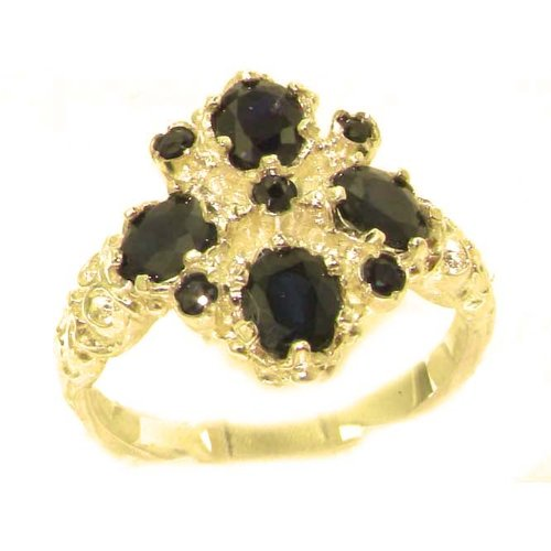 Luxury Ladies Victorian Style Solid Hallmarked 14K Yellow Gold Natural Sapphire Ring - Size 9.75 - Finger Sizes 5 to 12 Available - Perfect Gift for Birthday, Christmas, Valentines Day, Mothers Day, Mom, Mother, Grandmother, Daughter, Graduation, Bridesmaid.