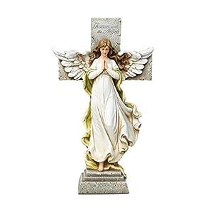 Joseph's Studio Standing Angel Memorial Cross with Versegarden Statue, 12-Inch, Made of Resin Stone