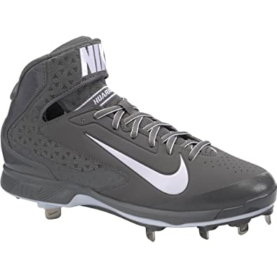 Mens Nike Air Huarache Pro Mid Metal Baseball Cleat Graphite White by Nike