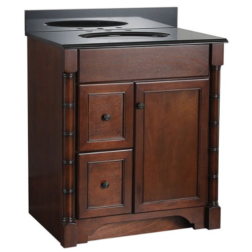 Comparamus foremost esna3021dl estlin 30 inch bath vanity left side drawers for Bathroom vanities 30 inch with drawers