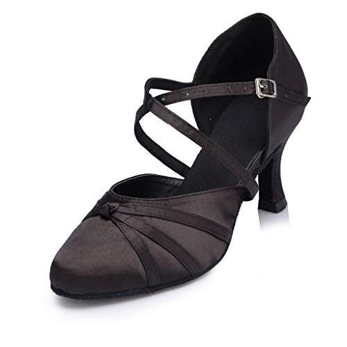 Minishion Women's Ribbon Knot Black Satin Ankle Wrap Latin Dance Shoes 9 M US