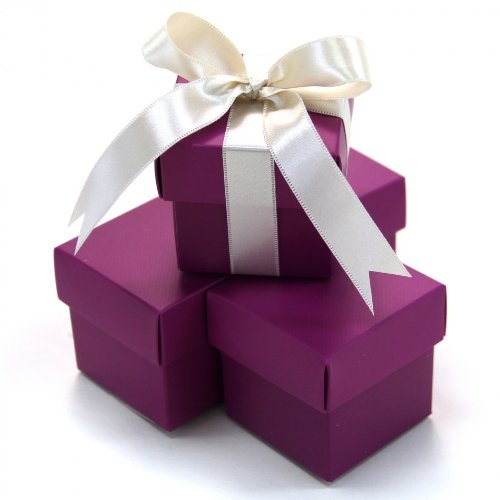 Koyal 2-Piece 100-Pack Square Favor Boxes, Plum front-1057260