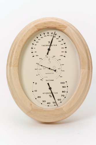 River City Clocks Mini Wall or Desk Weather Station with Oak Finish - 7 Inches Tall - Model # 501-839LO