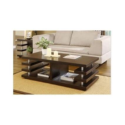 Architectural Inspired Dark Espresso Coffee Table