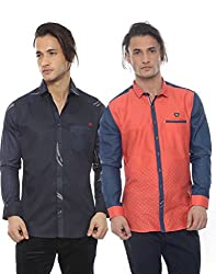 Apris Mens Casual Combo Shirts-NAVY-RED (S-3208-3321) (XL)