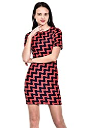 IKnow Women's Sheath Red and Black Dress
