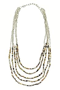 World Finds Ombre Metallic Tiered Necklace