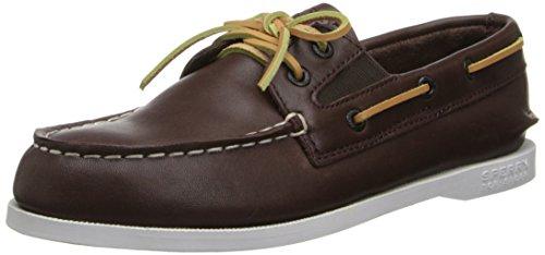 Sperry Top-Sider A/O Slip On Boat Shoe (Little Kid/Big Kid),Brown,5 M US Big Kid