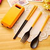 1 Set Portable Tableware Sets Folding Spoon Fork Chopsticks Outdoor Travel Lunch Box Tableware(Random Color)