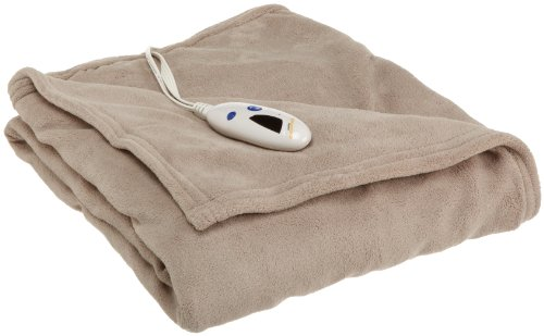 Biddeford Heated Plush Throw, Taupe (Biddeford Heated Throws compare prices)