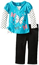 Young Hearts Baby-Girls Infant 2 Piece Butterfly Polka Dot Shirt And Pant, Blue, 24 Months