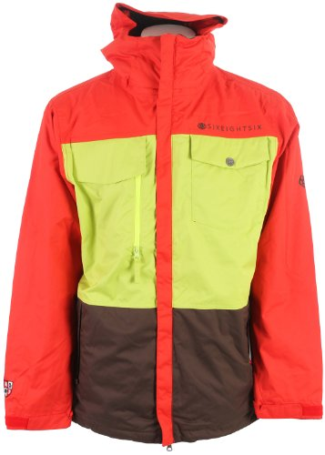 686 Smarty Command Snowboard Jacket Chili Colorblock Mens Sz L