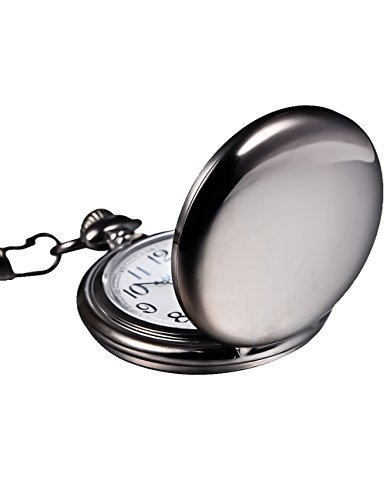Mudder Classic Smooth Vintage Black Steel Mens Pocket Watch 3